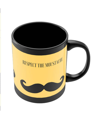 Coffee Mugs Online | Respect The Moustache Black Coffee Mug Online India