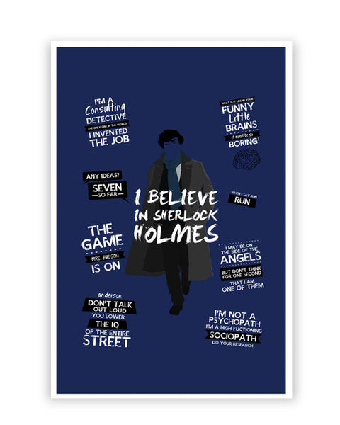 Posters Online | I Believe In Sherlock Holmes | Fan Art Poster Online India | Designed by: SkyLit Designs