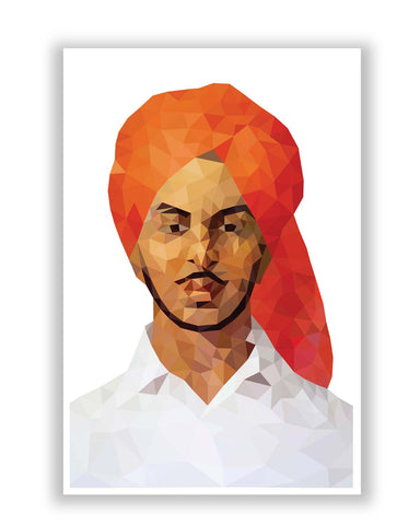 Posters Online | Bhagat Singh Poly Art Poster Online India | Designed by: Gagandeep Singh