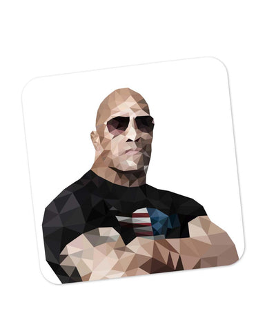 Buy Coasters Online | Rock Dwayne Johnson Poly Art Coaster Online India | PosterGuy.in