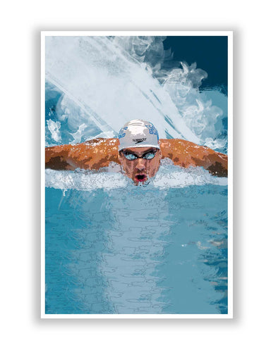 Posters Online | Michael Phelps Swimming Champion Poster Online India | Designed by: Design Walrus