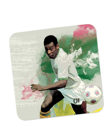 Buy Coasters Online | Brazil Legend Pele Illustration Coaster Online India | PosterGuy.in