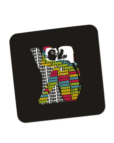 Buy Coasters Online | John Lennon Kissing Yoko Ono | Beatles Coaster Online India | PosterGuy.in