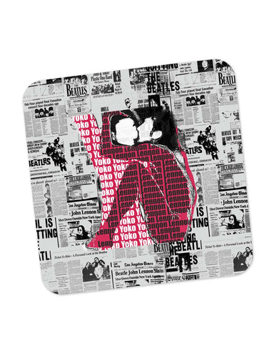 Buy Coasters Online | John Lennon And Yoko Ono Kissing | Beatles Coaster Online India | PosterGuy.in