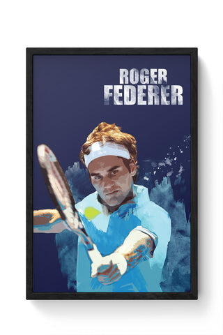 Framed Posters Online India | Roger Federer Art Splash Laminated Framed Poster Online India
