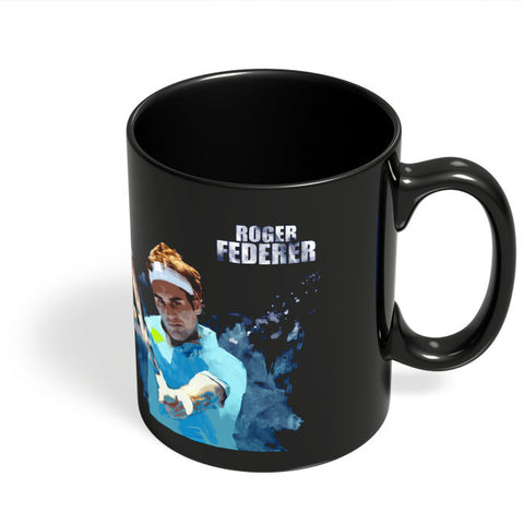 Coffee Mugs Online | Roger Federer Art Splash Black Coffee Mug Online India