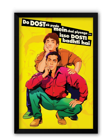 Framed Posters | Andaz Apna Apna Aamir Khan Salman Khan Do Dost Ek Pyaale Quote Laminated Framed Poster Online India