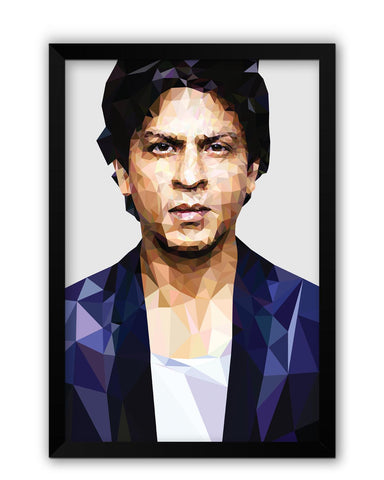 Framed Posters | Shahrukh Khan Low Poly Art Laminated Framed Poster Online India