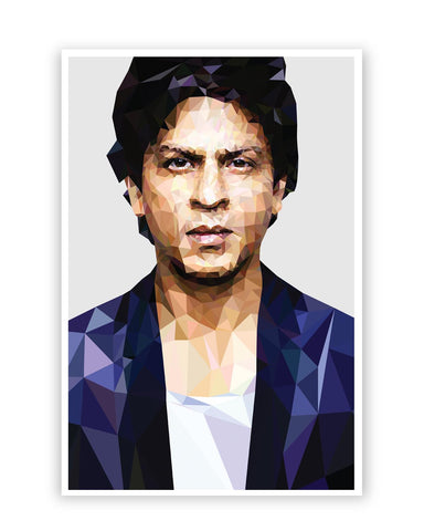 Posters Online | Shahrukh Khan Low Poly Art Poster Online India | Designed by: Abhishek Aggarwal