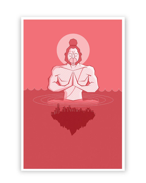 Posters Online | Lord Hanuman Watching Over World Art Poster Online India | Designed by: IDigType