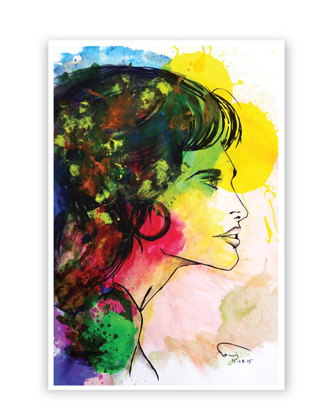 Posters Online | The Lady Abstract Art Sketch Poster Online India | Designed by: Abhishek Faujdar