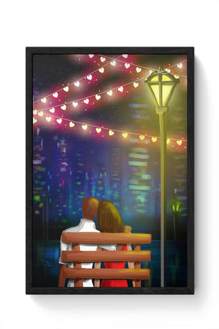 Bench couple Framed Poster Online India