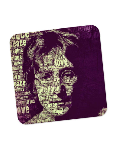 Buy Coasters Online | John Lennon Typography Art Coaster Online India | PosterGuy.in