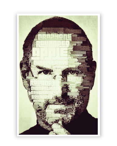 Posters Online | Steve Jobs Typographic Illustration Poster Online India | Designed by: Lazy Artman