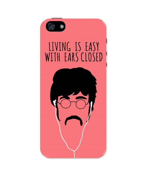 iPhone 5 / 5S Cases & Covers | Living is Easy with Ears Closed (Red)| John Lennon iPhone 5 / 5S Case Online India