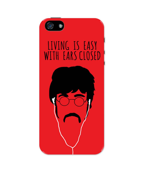 iPhone 5 / 5S Cases & Covers | Living is Easy with Ears Closed (Yellow)| John Lennon iPhone 5 / 5S Case Online India