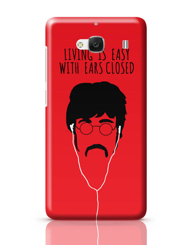 Xiaomi Redmi 2 / Redmi 2 Prime Cover| Living is Easy with Ears Closed (Yellow)| John Lennon Redmi 2 / Redmi 2 Prime Cover Online India
