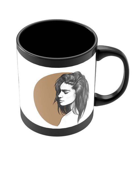 Coffee Mugs Online | Girl Illustration Black Coffee Mug Online India