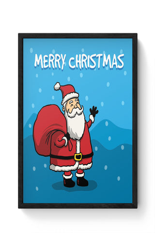Framed Posters Online India | Happy Santa Merry Christmas Illustration Laminated Framed Poster Online India