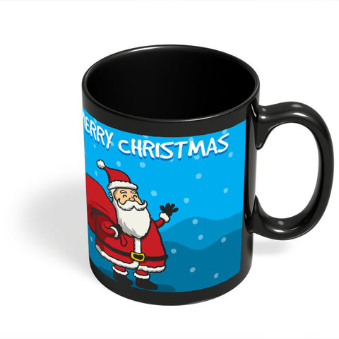 Coffee Mugs Online | Happy Santa Merry Christmas Illustration Black Coffee Mug Online India