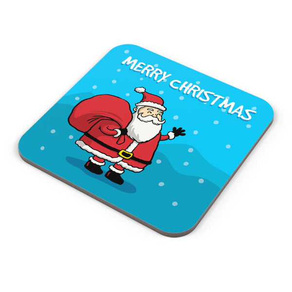 Buy Coasters Online | Happy Santa Merry Christmas Illustration Coaster Online India | PosterGuy.in