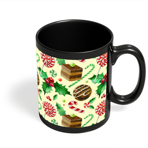 Coffee Mugs Online | Christmas Pattern Black Coffee Mug Online India