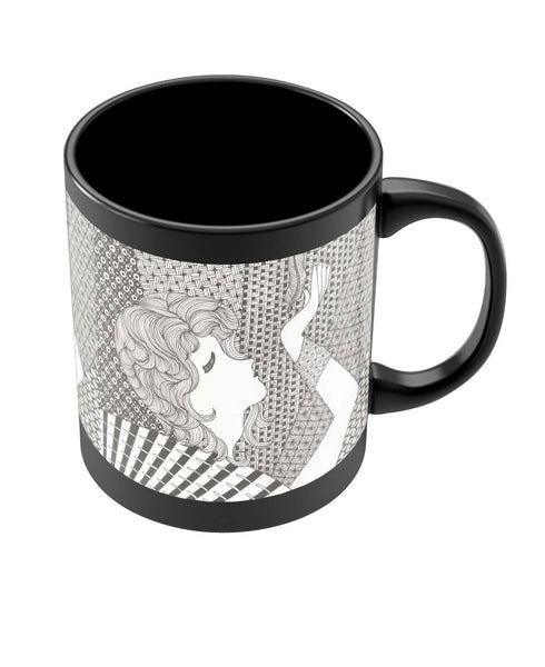 Coffee Mugs Online | Cool Breeze Art Illustration Black Coffee Mug Online India