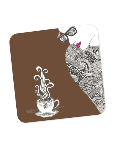 Buy Coasters Online | Coffee & Spice Art Illustration Coaster Online India | PosterGuy.in