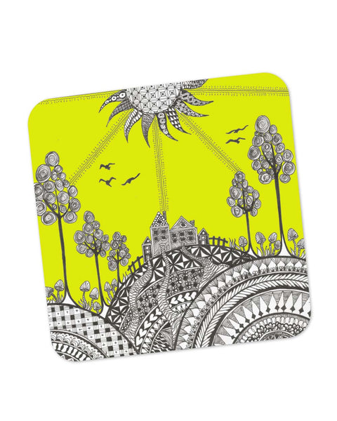 Buy Coasters Online | Hill Top Art Illustration Coaster Online India | PosterGuy.in