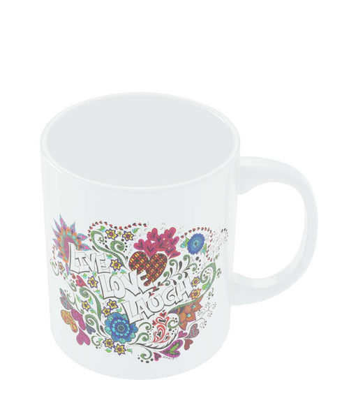 Coffee Mugs Online | Live Love Laugh Art Illustration Mug Online India