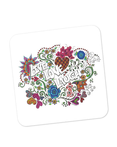 Buy Coasters Online | Live Love Laugh Art Illustration Coaster Online India | PosterGuy.in