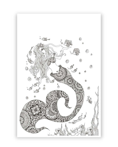 Posters Online | Mermaid Art Illustration Poster Online India | Designed by: Surabhi Kuthiala