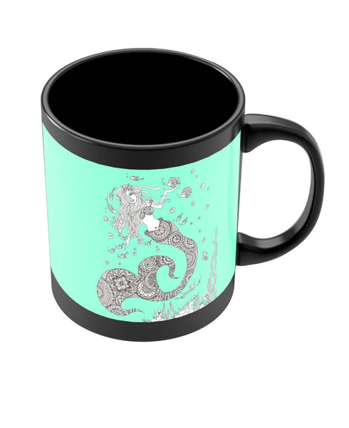 Coffee Mugs Online | Mermaid Art Illustration Black Coffee Mug Online India