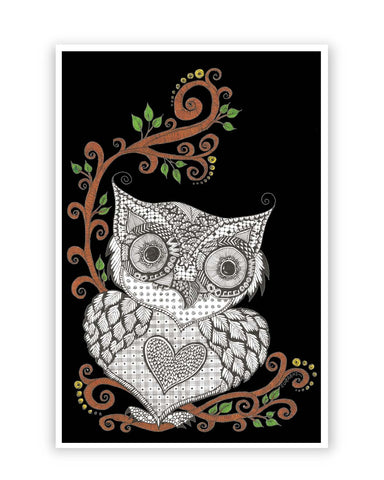 Posters Online | Urban Owl Art Illustration Poster Online India | Designed by: Surabhi Kuthiala