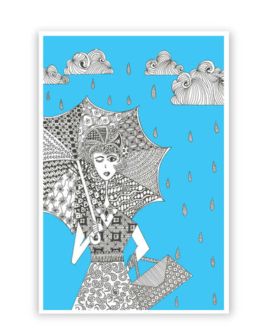 Posters Online | Walking in The Rain Art Illustration Poster Online India | Designed by: Surabhi Kuthiala