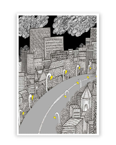 Posters Online | The City Life | Line Art Poster Online India | Designed by: Surabhi Kuthiala