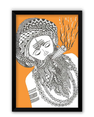Framed Posters | Holy Smoke | Line Art Laminated Framed Poster Online India