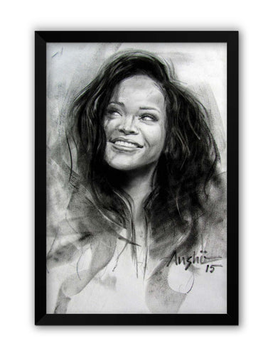 Framed Posters | Rihanna Sketch Laminated Framed Poster Online India