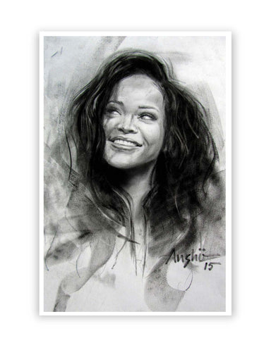Posters Online | Rihanna Sketch Poster Online India | Designed by: Anshu_Art
