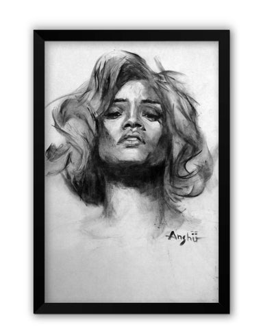 Framed Posters | Rihanna Illusionary Dream Sketch Laminated Framed Poster Online India