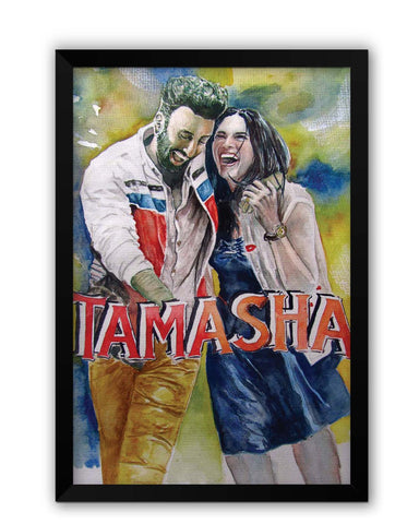 Framed Posters | Ranbir Kapoor And Deepika Padukone Tamasha Inspired Painting Laminated Framed Poster Online India