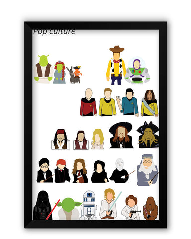 Framed Posters | Hollywood Movies Pop Culture Illustration Laminated Framed Poster Online India