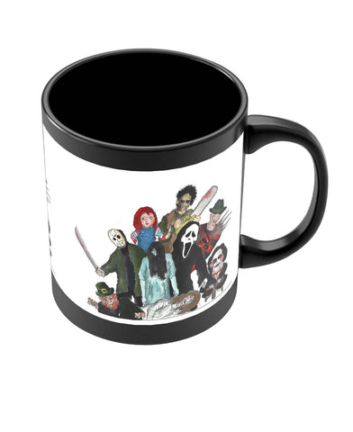 Coffee Mugs Online | Pop Art Illustration Characters Black Coffee Mug Online India