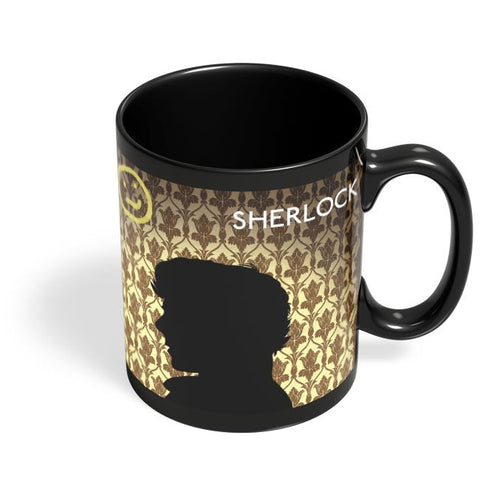 Sherlock Holmes 221B Silhouette Illustration Black Coffee Mug