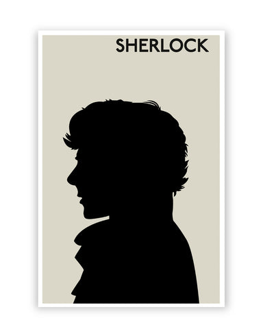 Posters Online | Sherlock Holmes 221B Silhouette Illustration (White) Poster Online India | Designed by: Nishit