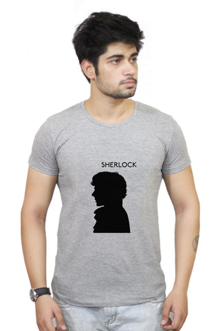 Buy Sherlock Holmes 221B Silhouette Illustration (White) T-Shirts Online India | Sherlock Holmes 221B Silhouette Illustration (White) T-Shirt | PosterGuy.in