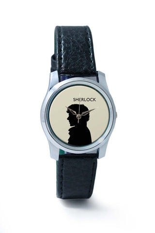 Women Wrist Watch India | Sherlock Holmes 221B Silhouette Illustration (White) Wrist Watch Online India