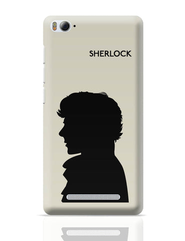 Xiaomi Mi 4i Covers | Sherlock Holmes 221B Silhouette Illustration (White) Xiaomi Mi 4i Cover Online India