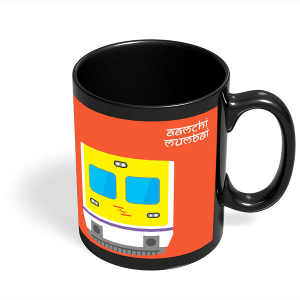 Coffee Mugs Online | Aamchi Mumbai Quirky Local Train Black Coffee Mug Online India