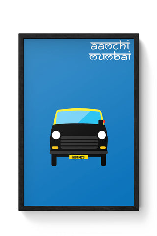 Framed Posters Online India | Aamchi Mumbai Quirky Taxi Laminated Framed Poster Online India